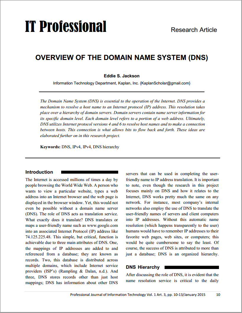 term paper on domain name system Also popularly known as 'dns' which is the abbreviation for 'domain name system' is name system information technology essay views of uk essays.