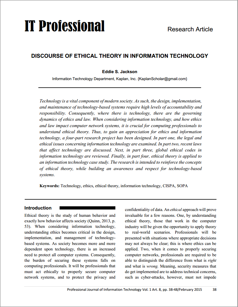 computer ethics and impact of society information technology essay Me 370: current issues in technology and society economic and political impact of technology ethics of using drones to assassinate enemies who are not on a.