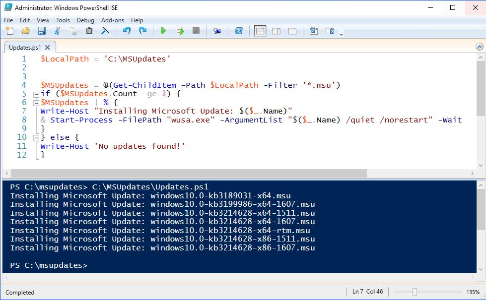 PowerShell – Installing Windows Updates – Suppress Reboots