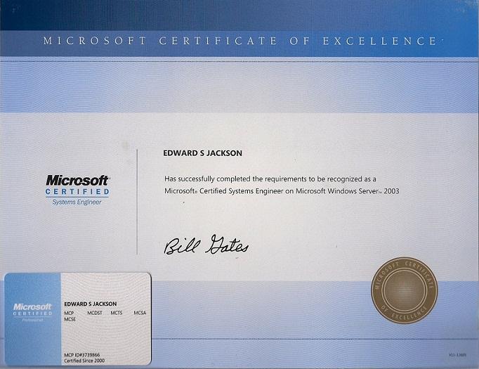 Certifications Eddie Jackson