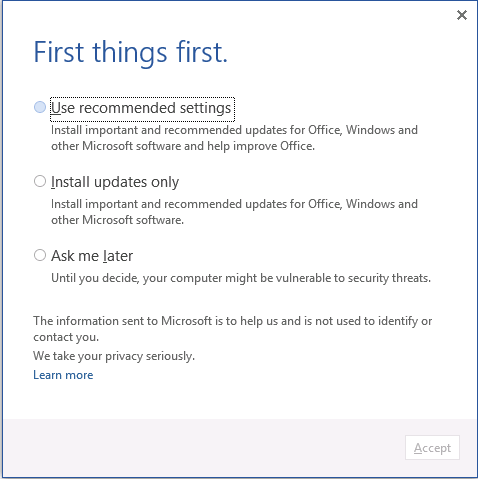 office activation wizard disable