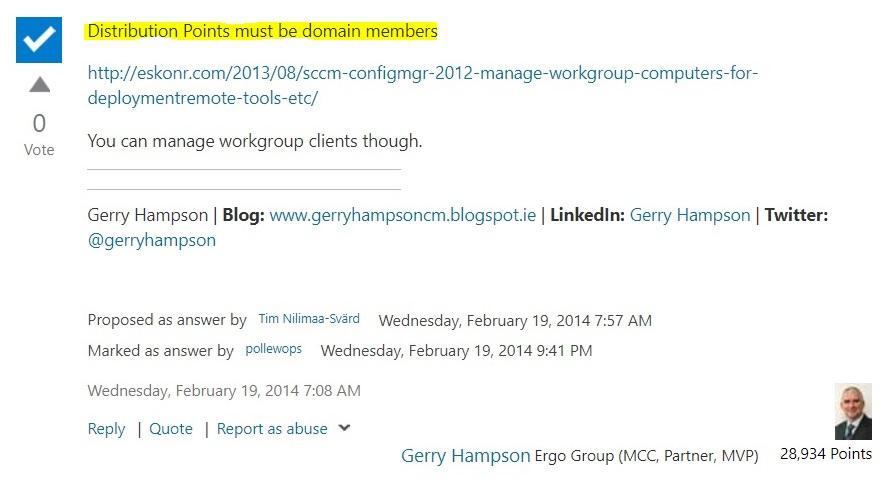 SCCM – Install Distribution Point on Workgroup Member Server